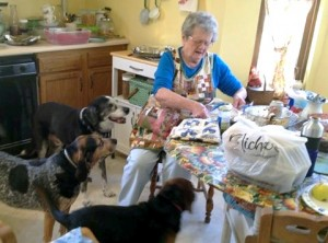 Mom preparing Thanksgiving leftovers with three eager helpers...