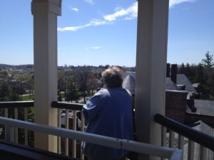 Me looking out from the same cupola General John Buford used on the first day of the battle to view troop movements.