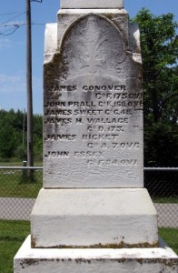 The Civil War Memorial in Bloom Rose Cemetery carrying James Conover's name.