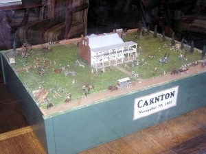 A diorama of Carnton on display in a Franklin shop window.