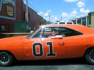 Diamondqueen behind the wheel of the General Lee.