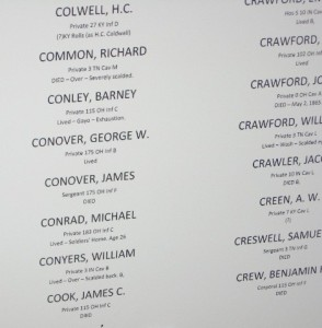 James Conover's name on the list of casualties at the Sultana exhibit, Marion AR.